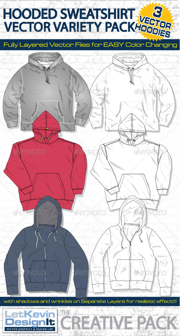 Hooded Sweatshirts Vector Template - Retail Commercial / Shopping