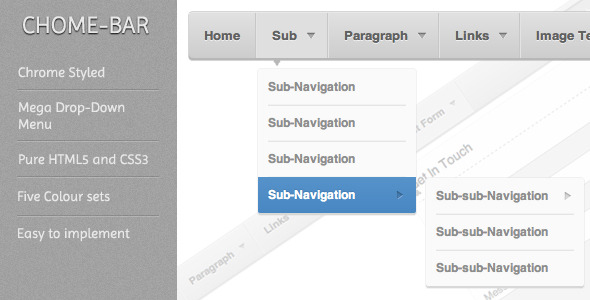 CodeCanyon Chrome-Bar Mega Navigation System 2308017