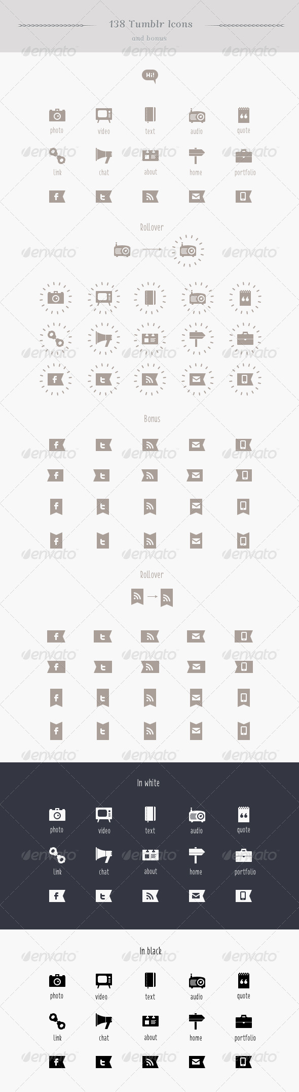 GraphicRiver Tumblr Blog Pixel Perfect Vector Icon Set 2308799