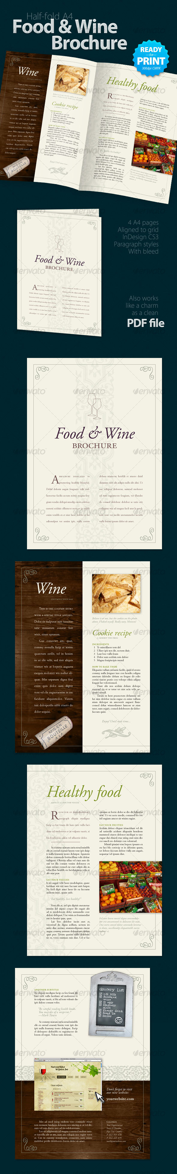 Food & Wine Brochure (4 Pages) - Food Menus Print Templates