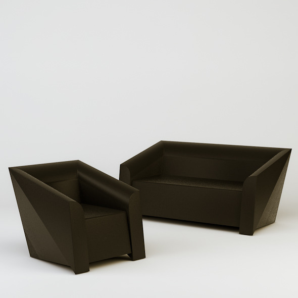 Heller MB Sofa and Armchair - 3DOcean Item for Sale