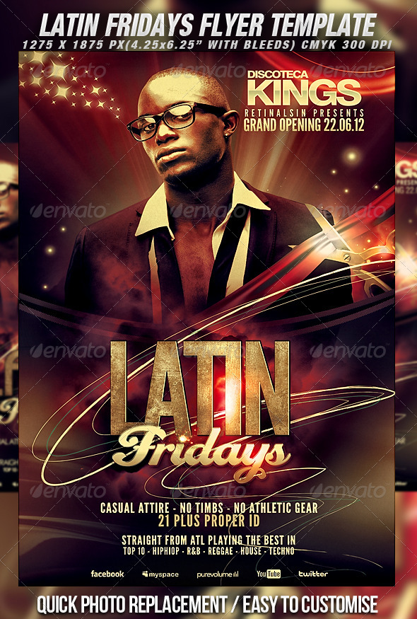 Latin Fridays Flyer Template - Clubs &amp; Parties Events