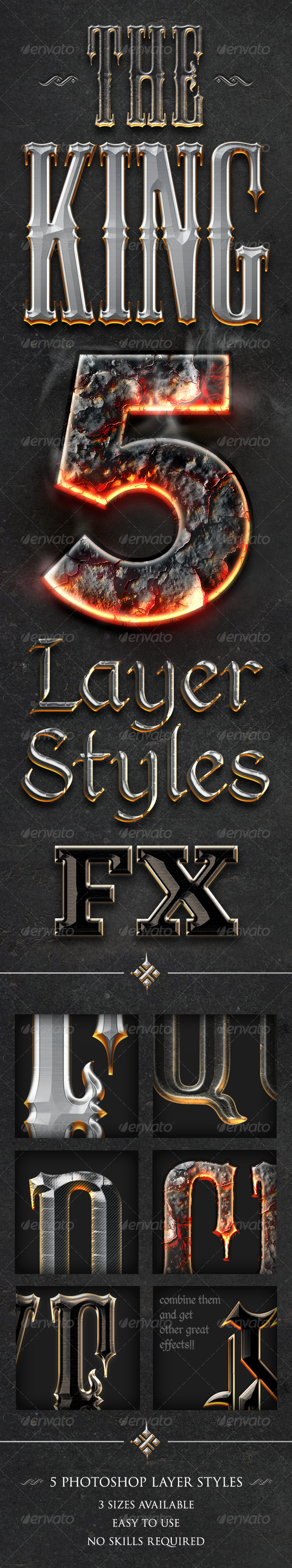 Chrome & Fire - Gothic Medieval Layer Styles Fx - Text Effects Styles