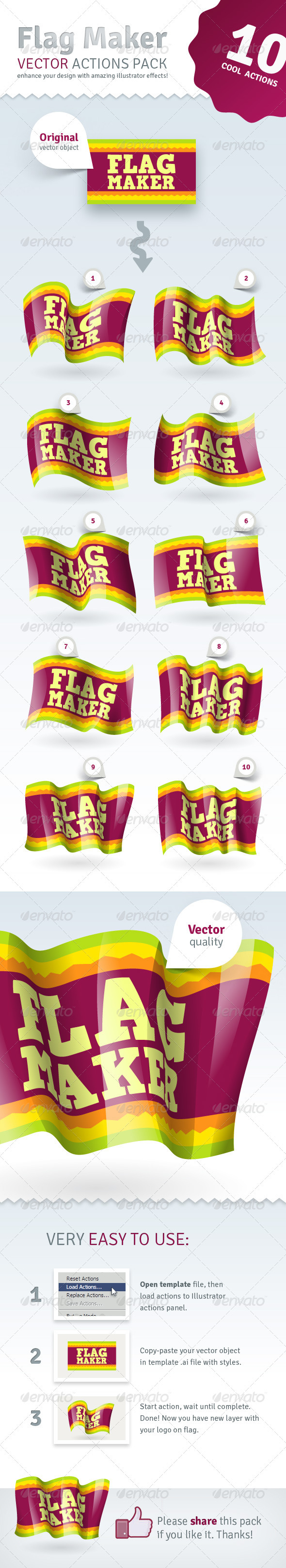 Flag Maker Vector Actions Pack