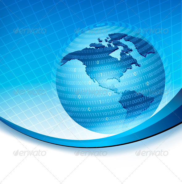 Globe trapped in a sphere made of binary code. - Backgrounds Decorative