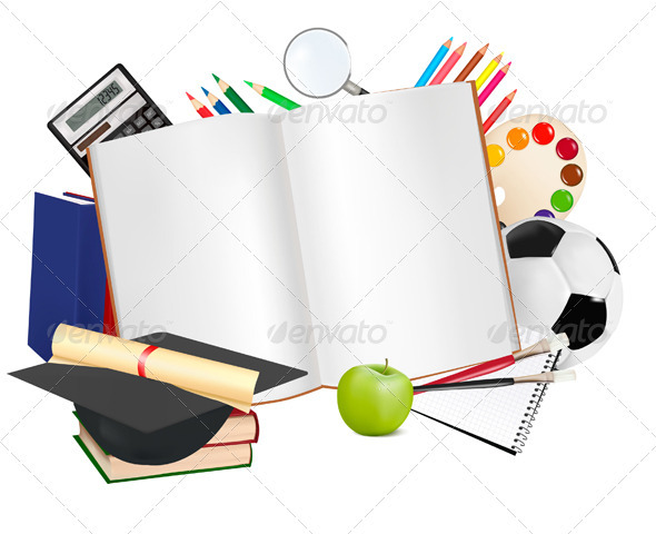 School notebook with supplies.  - Backgrounds Business