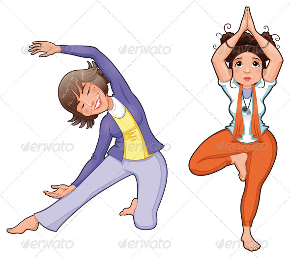 Yoga Positions. - People Characters