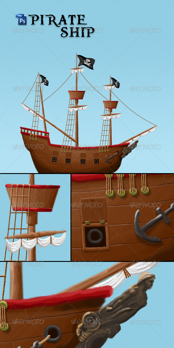 Pirate Ship Illustration - Objects Illustrations
