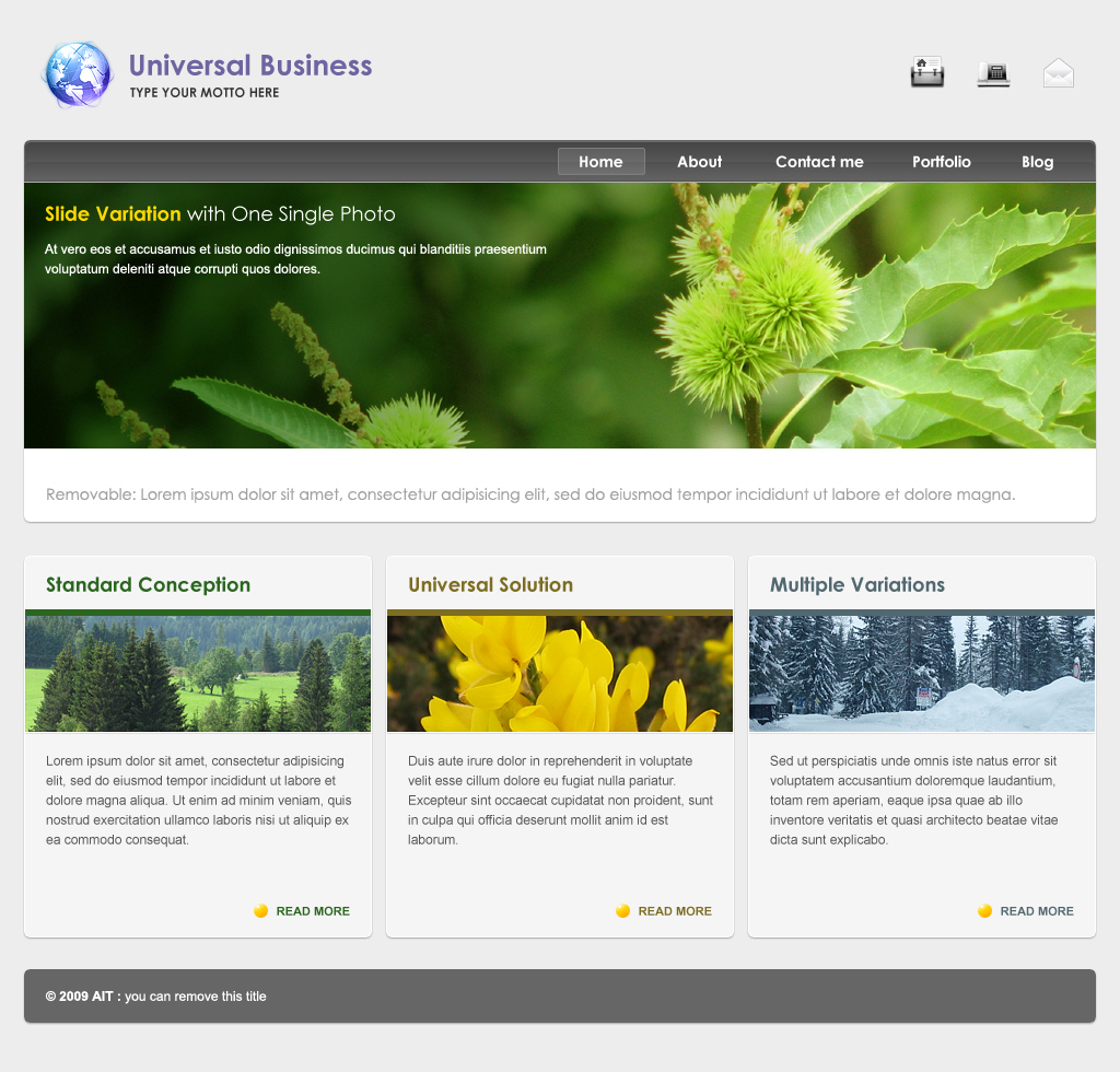 Universal Business Template, Dynamic Menu & Form - Homepage