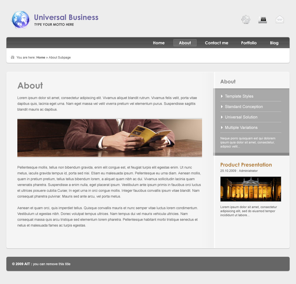 Universal Business Template, Dynamic Menu & Form - Subpage