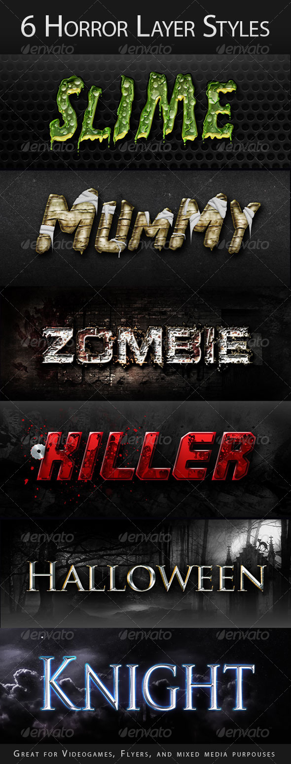 Horror Halloween Creepy Layer Styles Text Effects  - Text Effects Styles