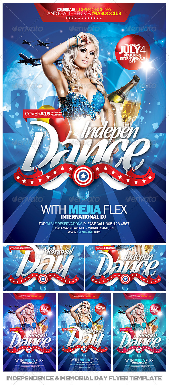 Independence & Memorial Day Flyer Template - Events Flyers