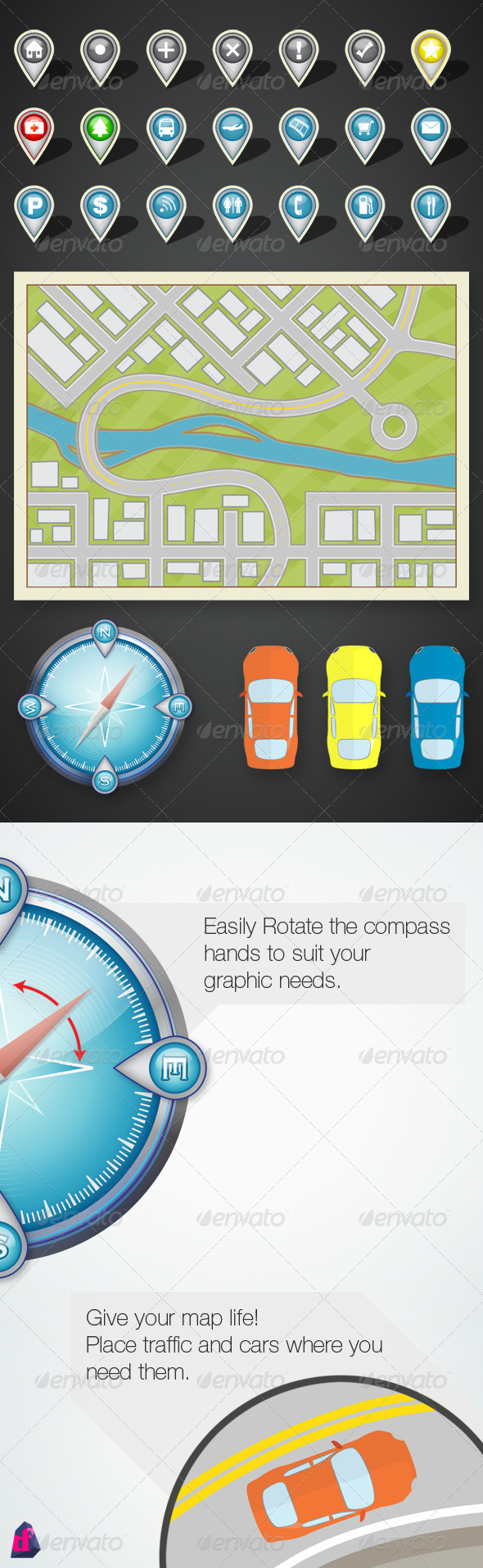 GPS Map and Location Icon Kit - Web Elements Vectors