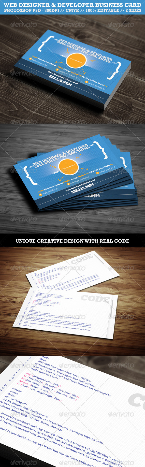 Creative Web Designer/Developer Business Card - Creative Business Cards