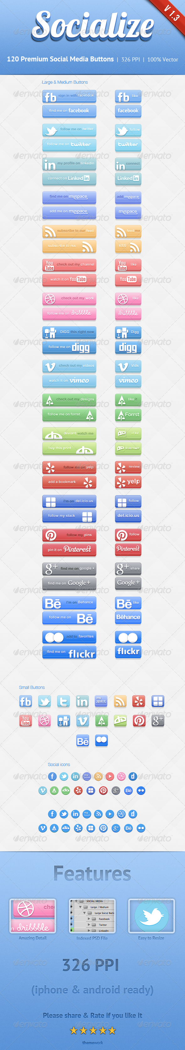 GraphicRiver Socialize Social Button Kit 1765913