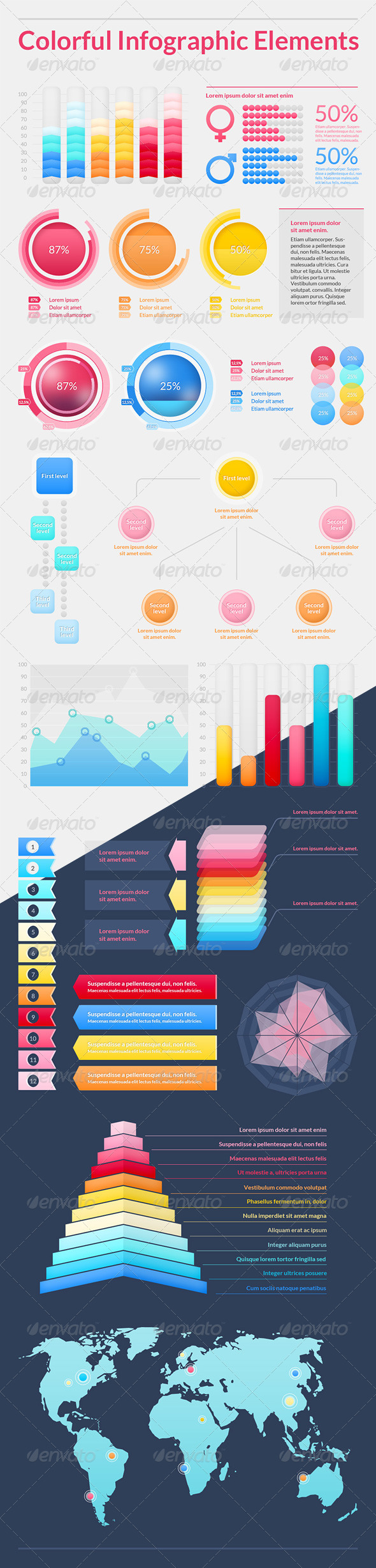 Colorful Infographic Elements - Infographics