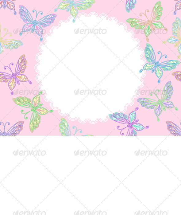 Graphic River Vector pink floral lace frame with butterflies Vectors -  Decorative  Patterns 2325825