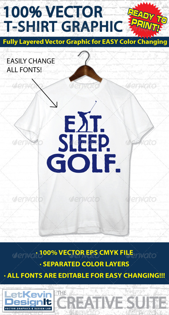 Golf Vector T-shirt Graphic - Template - Sports & Teams T-Shirts