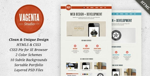 Vagenta 2 in 1 - Clean and Unique HTML Template - Portfolio Creative