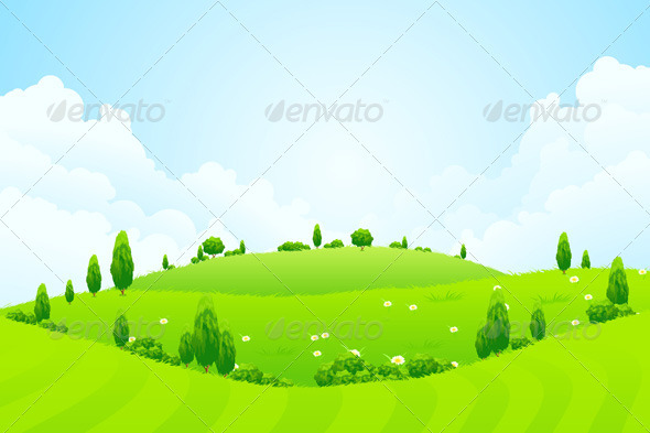 Green Background with Grass Trees Flowers and Hill - Landscapes Nature