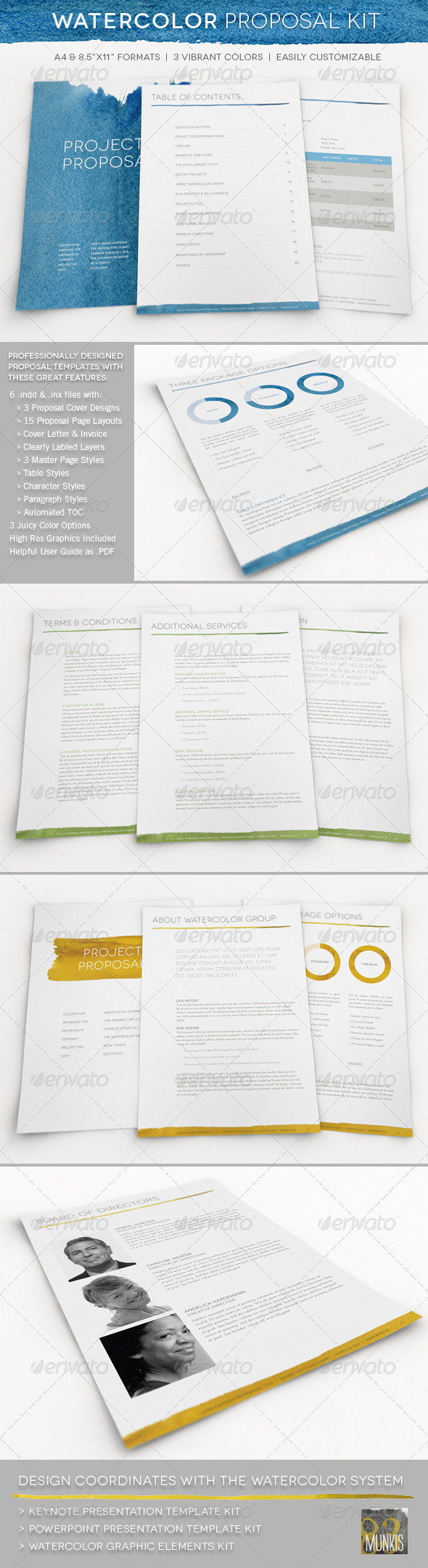 Watercolor Professional Proposal Kit  - Proposals & Invoices Stationery