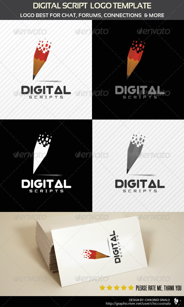 Digital Script Logo Template - Abstract Logo Templates