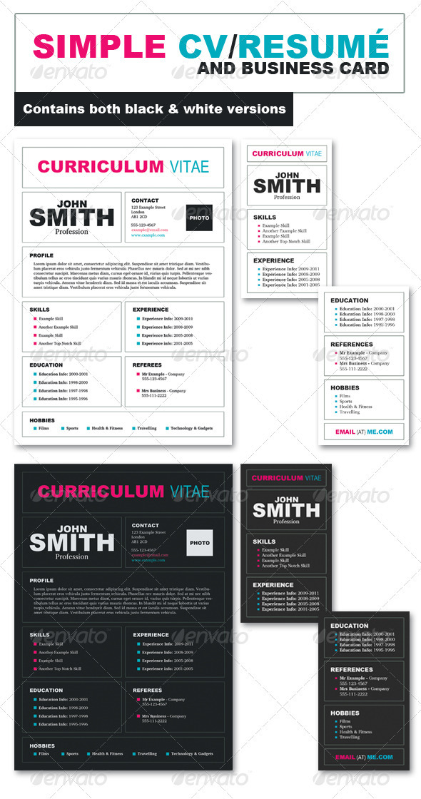 GraphicRiver CV Resume & Business Card Pack 263798