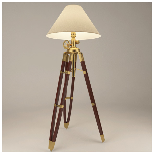 3DOcean Royal Marine Tripod Lamp with materials & textures 2332584