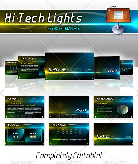 Hi-Tech Lights Keynote - Keynote Templates Presentation Templates