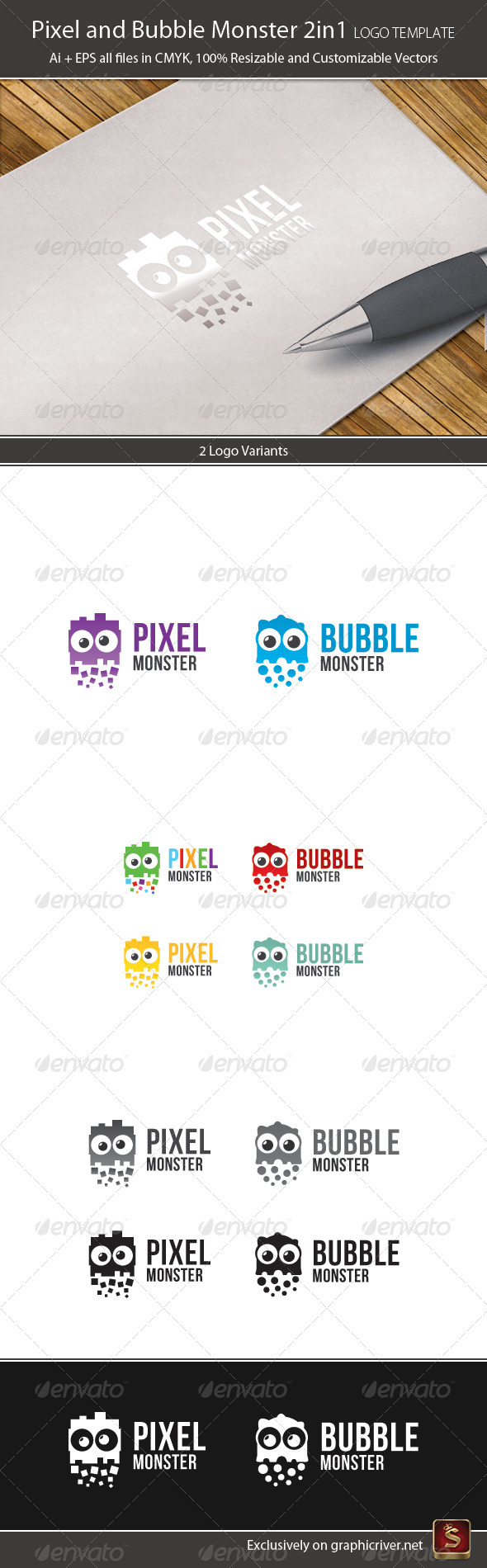 Pixel and Bubble Monster Logo Template 2in1 - Vector Abstract