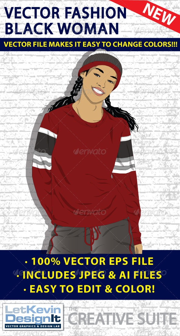 Black Woman Vector - Fashion - People Characters