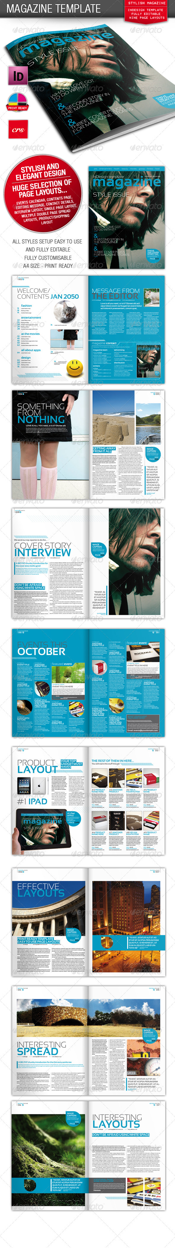 GraphicRiver Stylish InDesign Magazine Template 264182