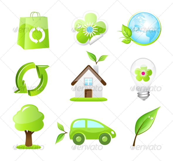GraphicRiver Collection of Nine Green Eco Icons 86622