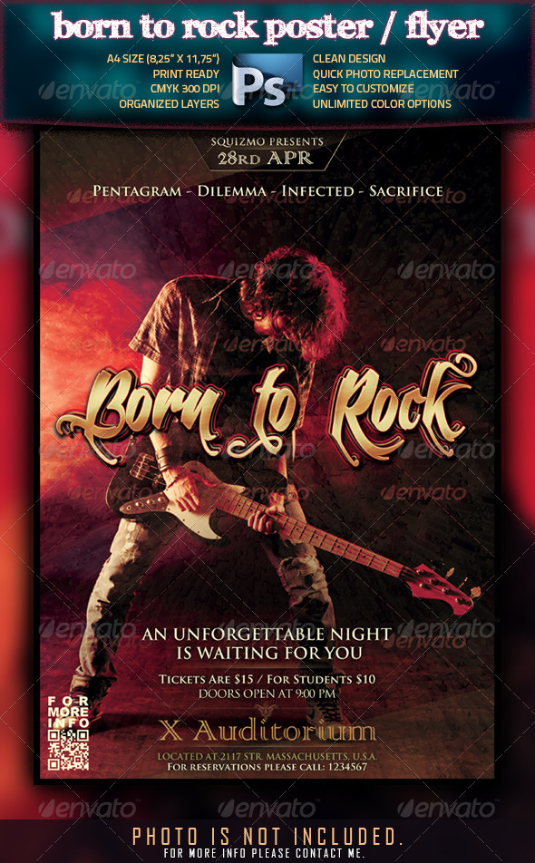 Born To Rock A4 Poster/Flyer - Clubs & Parties Events