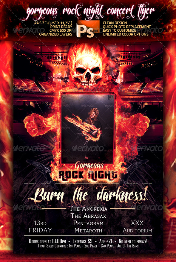 Gorgeous Rock Night Concert Flyer - Clubs & Parties Events