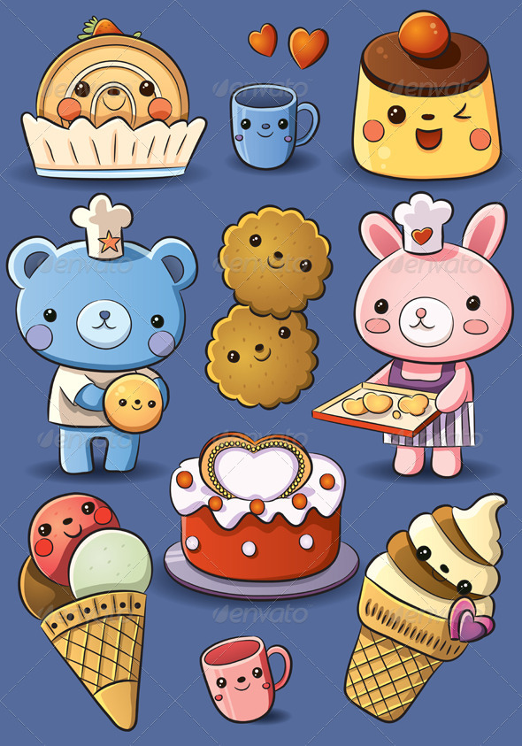 Cute Cakes and Ice Cream - Food Objects