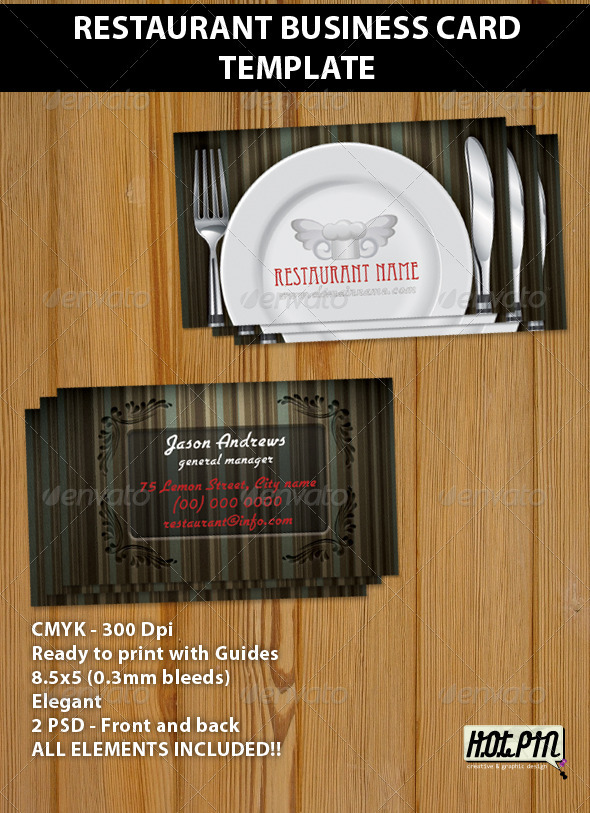 GraphicRiver Restaurant Business Card Template 264486