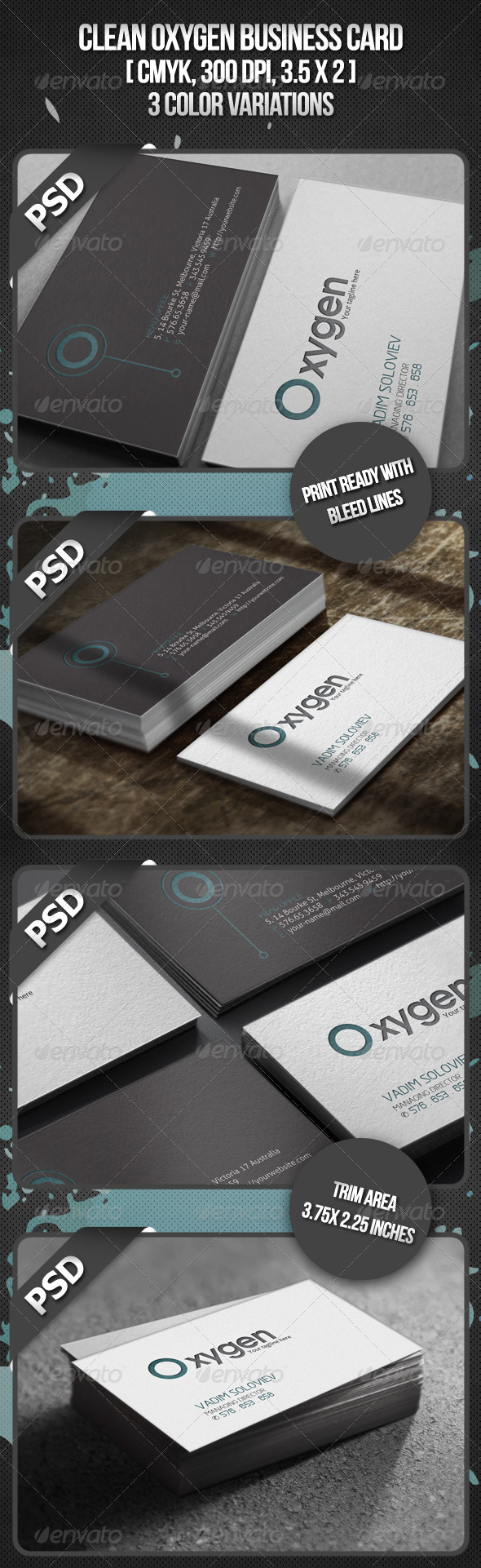 Clean Oxygen Business Card - Corporate Business Cards
