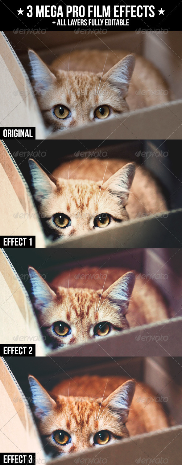 3 Mega Pro Film Effects - Actions Photoshop