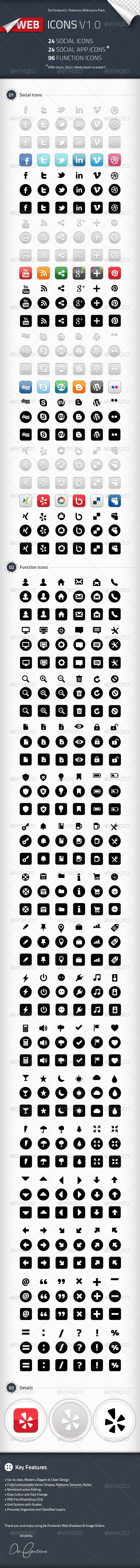 GraphicRiver Social Icons Social App Icons Function Icons 2276501
