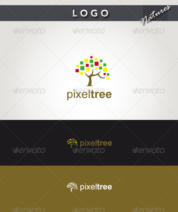 Pixel Tree Logo - Nature Logo Templates