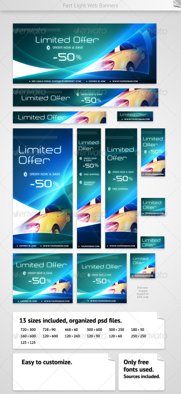 Fast Light Web Banners - Banners & Ads Web Elements