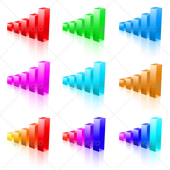 Abstract vector bar graphs - Concepts Business