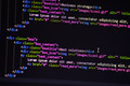 HTML Code on Monitor Closeup (Dark Blue) - PhotoDune Item for Sale