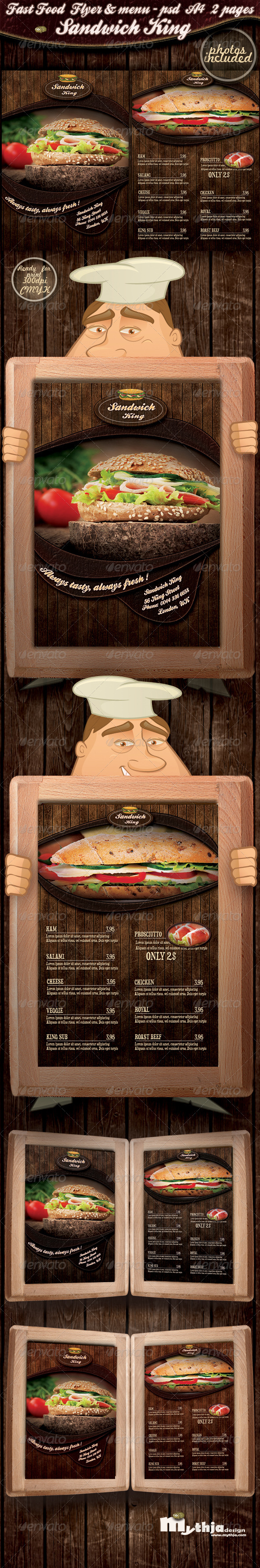 Fast food flyer &amp; menu - Sandwich king - Print Templates 