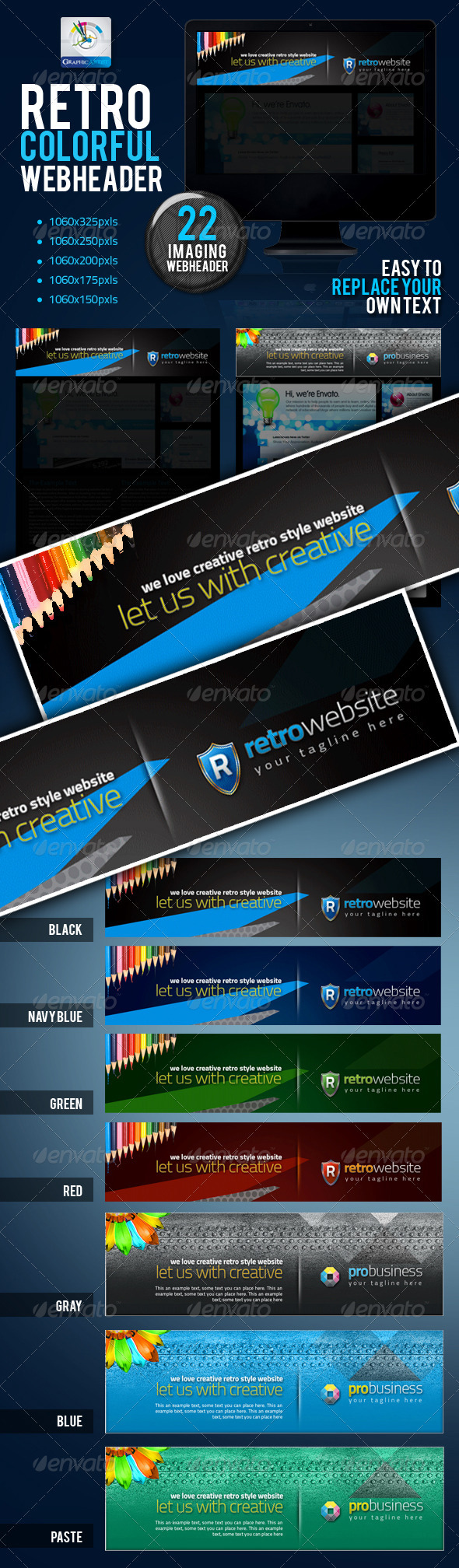 Retro Colorful Website Headers Set - Banners & Ads Web Elements