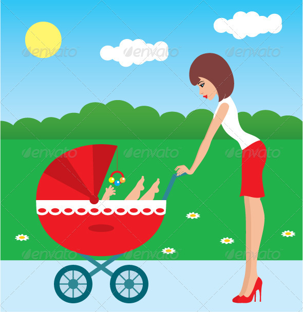 GraphicRiver Mother walks with the child in a carriage 2354483