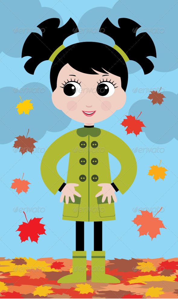 little girl in the autumn on walk GraphicRiver - Vectors -  Characters  People 2354515