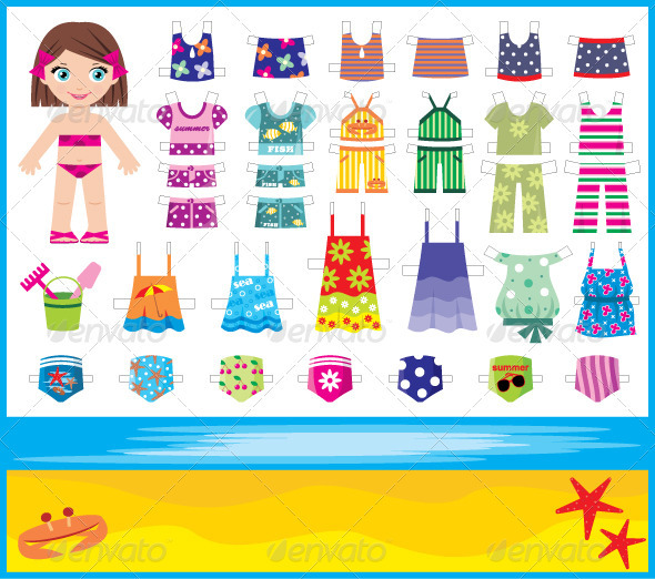 Paper doll with summer set of clothes - Characters Vectors