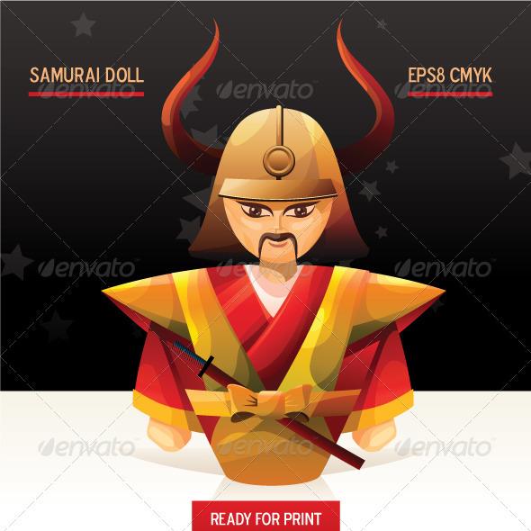 Cartoon Samurai Doll